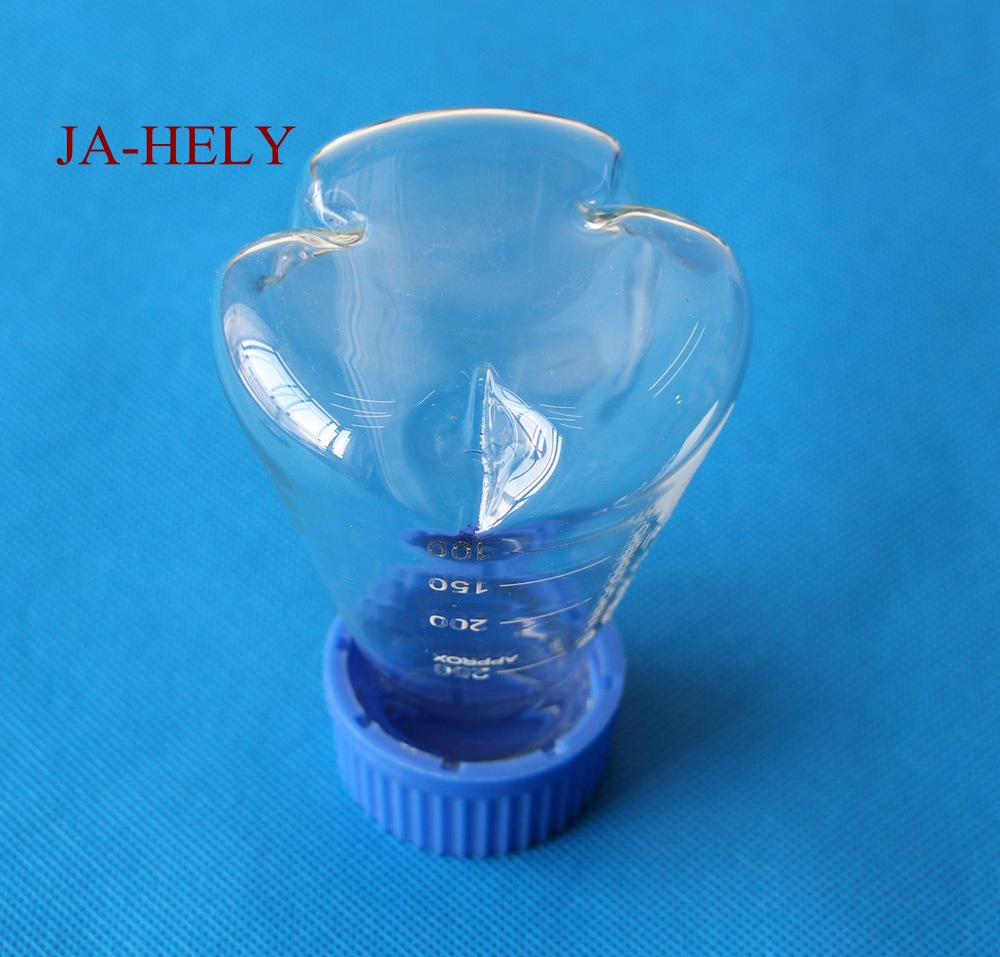 10pcs/lot 100 250 500ml Glass 3 baffles erlenmeyer flask baffled shake flask with screw plastic cap 500ml cell tissue glass culture flask with bevel screw cap angled neck