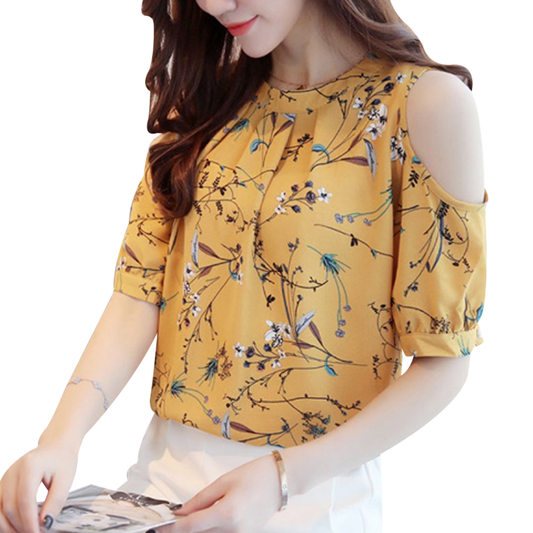 Cold Shoulder Chiffon Floral Printed Blouse Shirt Women
