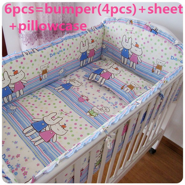Promotion! 6PCS baby bedding crib set 100% cotton crib bumper baby cot sets  (bumper+sheet+pillow cover)
