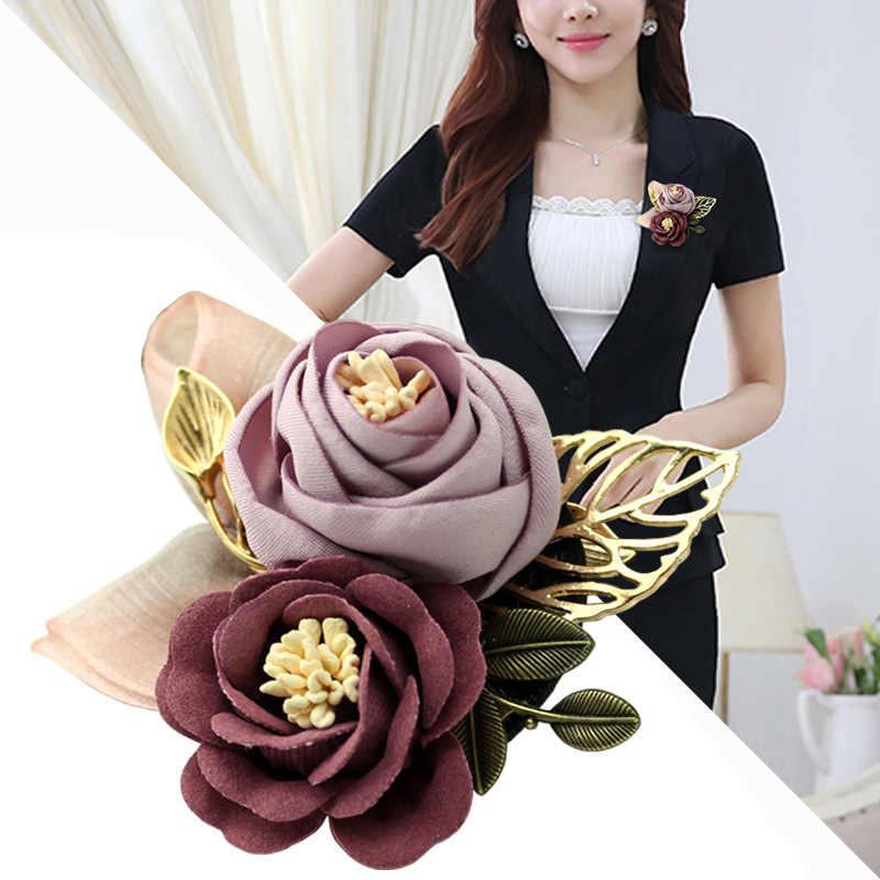 i-Remiel Korean Cloth Art Fabric Flower Brooch Shirt Collar Vintage Pins and Brooches for Women Dress Shirt Collar Accessories