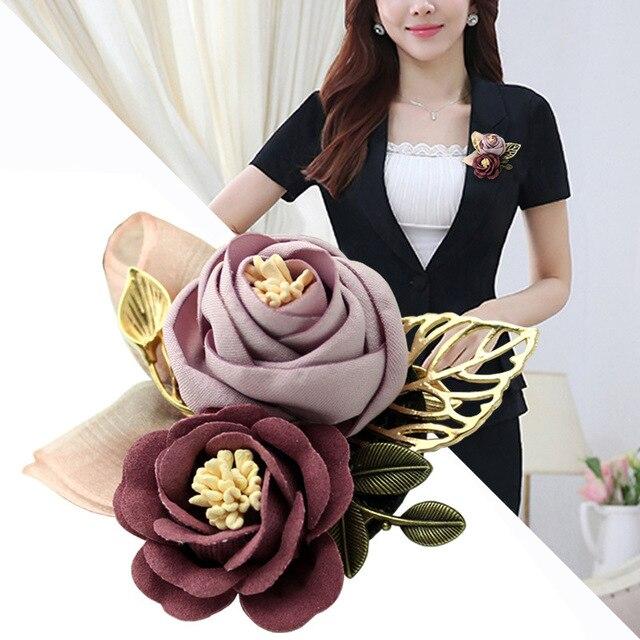 I-Remiel корейская ткань Художественная ткань цветок брошь рубашка воротник винтажные булавки и броши для женщин платье рубашка воротник аксессуары