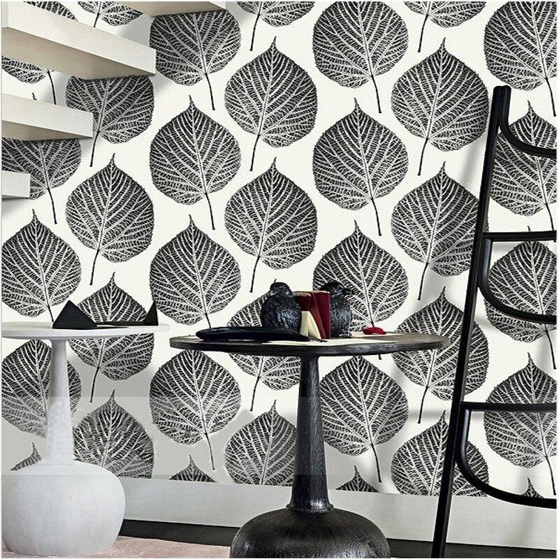 Livraison gratuite moderne Bodhi grandes feuilles salon fond TV papier peint style nordique bar hôtel caractéristiques papier peint