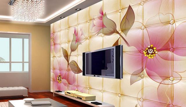 Personnalisé 3D Papier Peint Mural Romantique roses 3D Photo ...