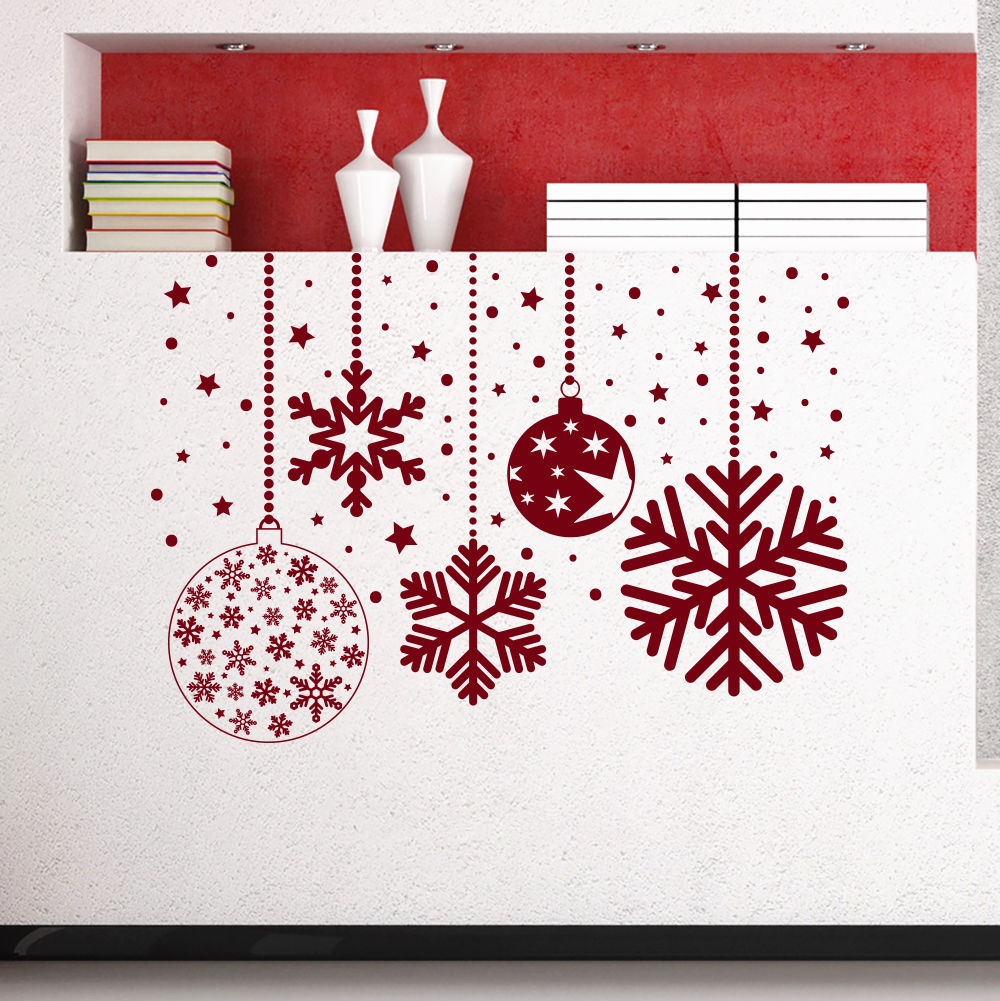 Us 135 Vinyl Removable 2017 Christmas Decor Snowflakes Mural Home Window Art Decoration Wall Sticker Merry Christmas Wallpaper D 142 In Wall