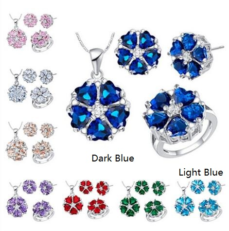 Almei Bridal Flower Jewelry Sets for Women Wedding Earrings And Necklace Fashion Pink Blue Crystal Costume Jewellery Set T563