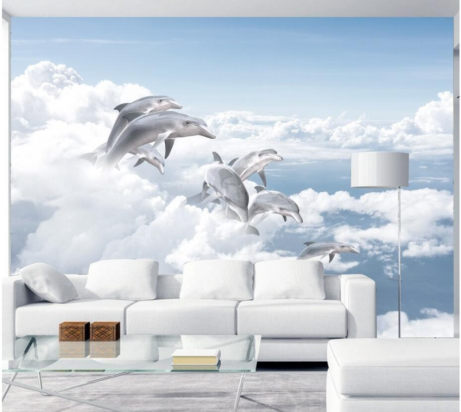 3d wall murals wallpaper for walls 3 d photo wallpaper Blue sky and white clouds and sea dolphins background wall living room children room blue sky ceiling wallpaper white clouds wallpaper for kids bedroom blue sky and white clouds wallpaper paper roll