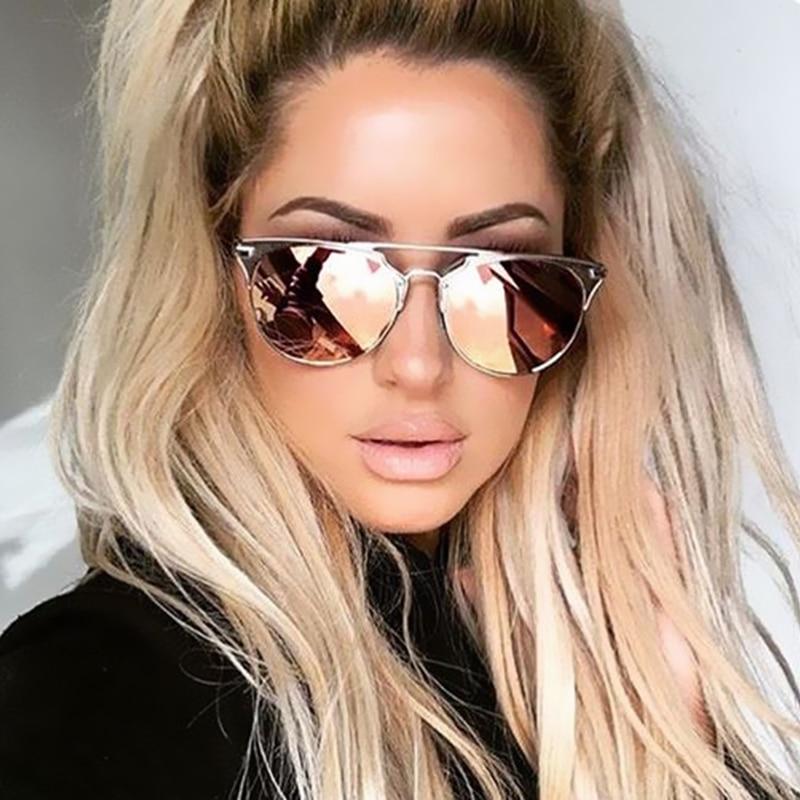640f17fec33bf 2017 Fashion Brand Designer Cat Eye Mirror Rose Gold Sunglasses Metal Lady  Flat Lens UV400 Women