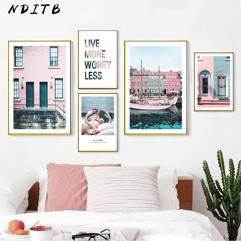 US $2 7 53% OFF|Scandinavian Poster Nordic Architecture House Wall Art  Canvas Print Painting Decorative Picture Modern Living Room Decoration-in
