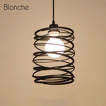Industrial Pendant Lights Black Iron Cage Vintage Hanging Lamp Home Dining Room Bedroom Kitchen Lamp Loft Decor Light Fixtures
