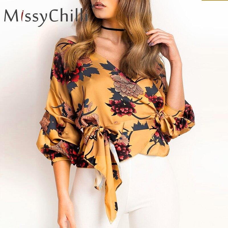 MissyChilli Sexy floral print boho v-neck blouse shirt Women summer elegant casual blouses Ladies black party satin tops vintage