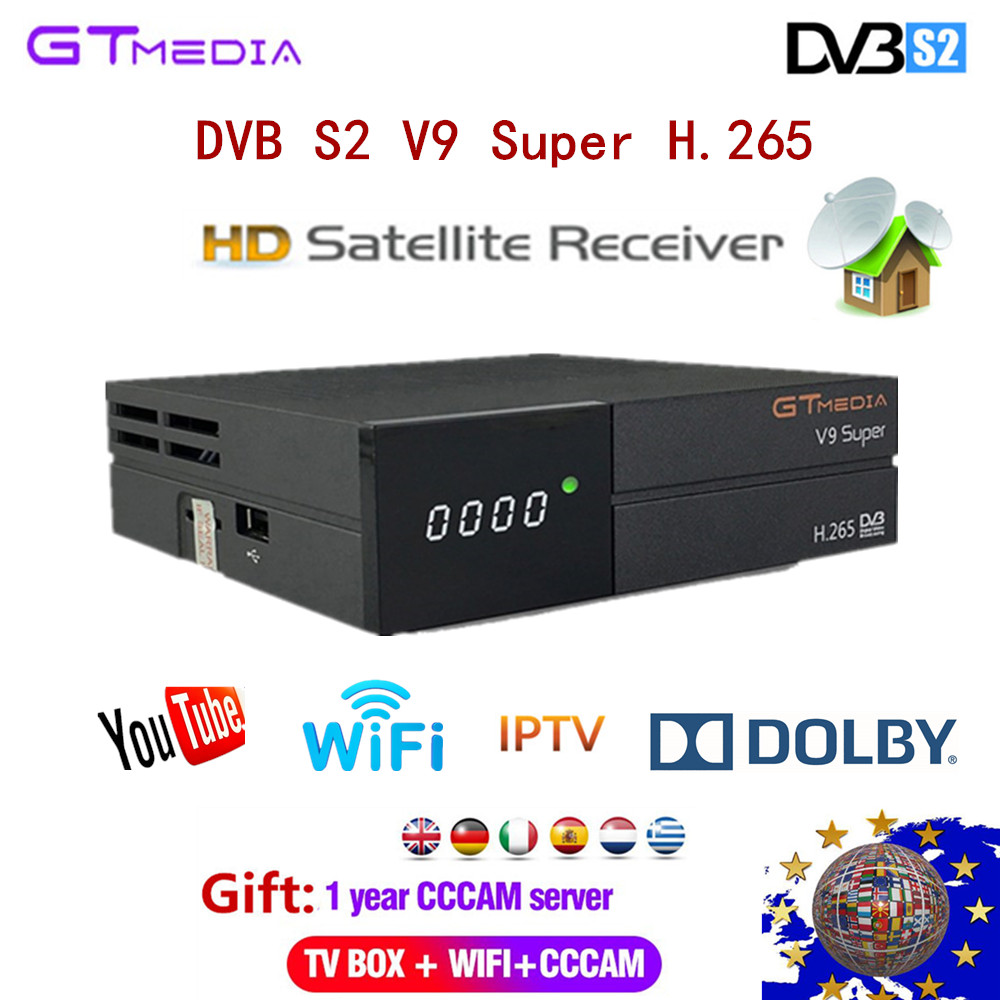FREESAT Satellite Receiver TV box GTMEDIA DVB S2 V9 Super 1 Year Cccam Support H 265