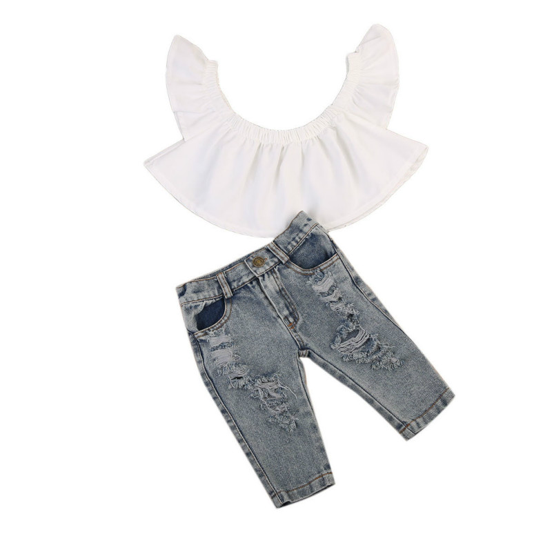 Toddler Infant Baby Girls Short Sleeve Off Shoulder Tops Blouse Casual Holes Denim Jeans Short Pants 3Pcs Outfits Clothes 0-4Y off shoulder tops t shirts denim pants hole jeans 3pcs outfits set clothing fashion baby kids girls clothes sets