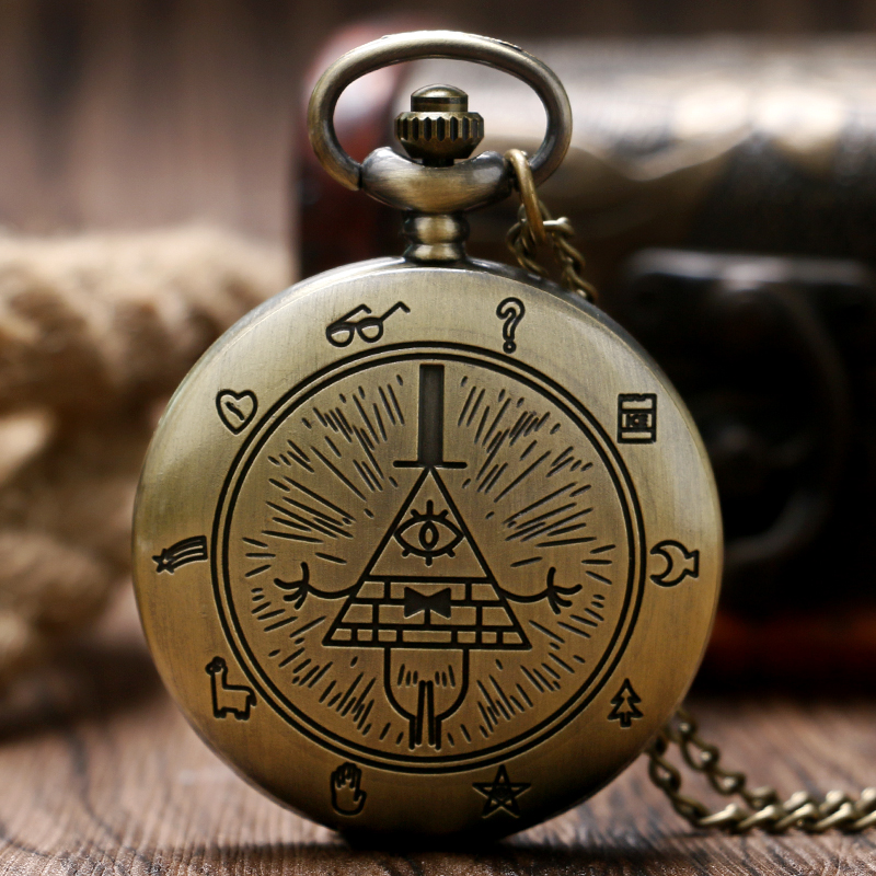 Eye Of Providence Free-Mason Mason Pocket Watch Pyramid Pattern Bronze Retro Pendant Necklace Men New Chain Gift