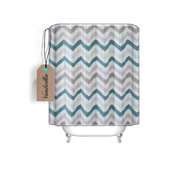 Chevron Pattern Design Fabric Shower Curtain 72 X 84 Extra Long Size Assorted ColorsAquaGrey