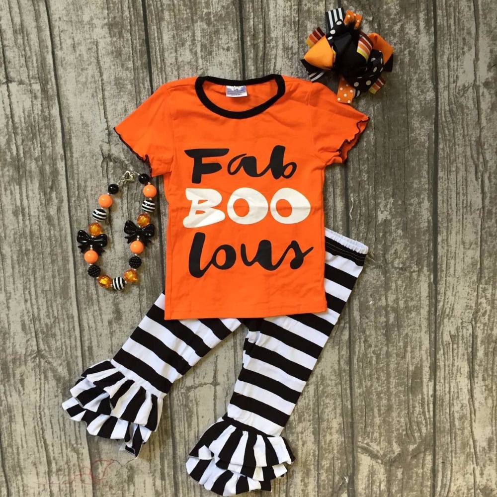 2017 new arrival Fall baby girls Halloween clothes orange striped Fab BOO suit boutique ruffles long pants with matching bow set