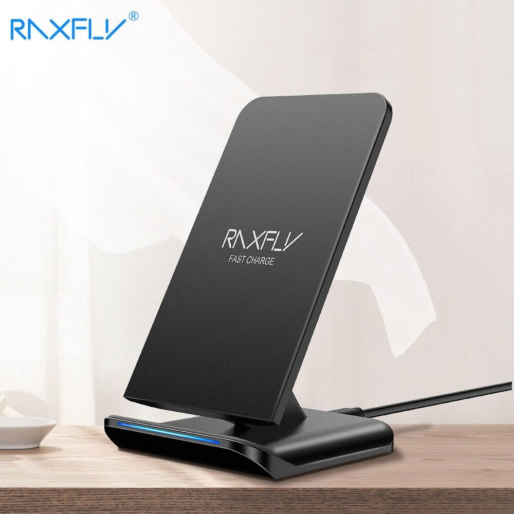 RAXFLY cargador inalámbrico QI para Samsung S9 S8 Plus Galaxy Nota 8 9 S7 S6 borde carga 10 W rápido cargo para iPhone 8 9 X XS Plus