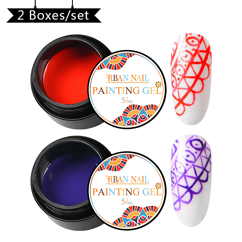 RBAN NAIL Painting Gel Varnish Pure Gel Nail Polish Set For Manicure DIY Top Base Coat Hybird Design Of Nail Art Primer in Nail Gel from Beauty Health