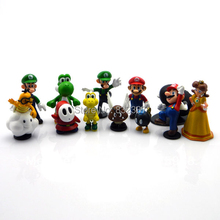 Classic High Quality 12pcs/lot Super Mario Bros Action Figures Mario Yoshi doll For Children's Gift