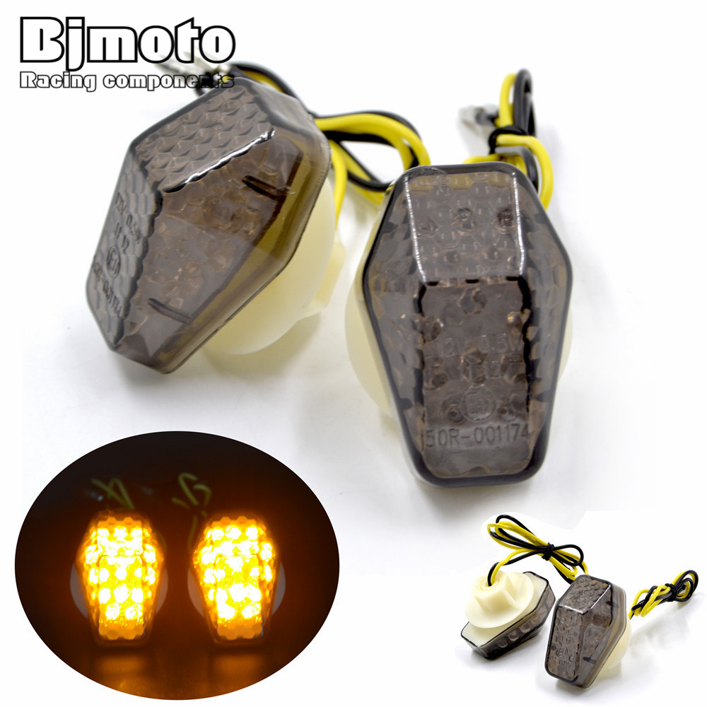 BJMOTO Free Shipping Unscrew 12 V Universal 0.5W Smoking/Clear Lens yellow Led Motorcycle Turn Signal Lights flashers lighting