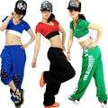 Marca hip hop dance curta desempenho ds neon traje Jazz feminino hiphop t-shirt