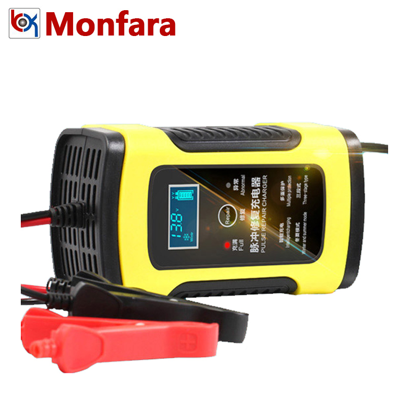 12V 6A Full Automatic Car Motorcycle Battery Charger Intelligent Smart Lead Acid 6 A Charging Digital LCD Display 220V 10 20 AMP