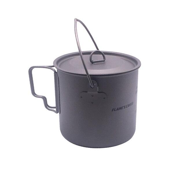 FLAME'S CREED 1100ml Cookware Set Ultralight Titanium Pot Frying Pan Outdoor Camping Titanium Bowl Titanium Cup Picnic