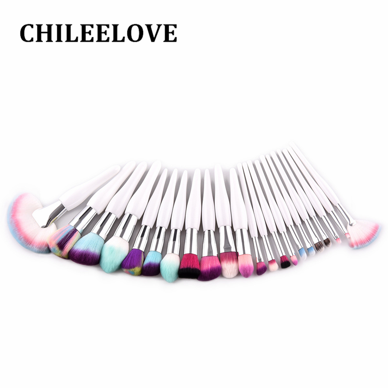 CHILEELOVE 22 Pcs High Quality Colorful Hair Makeup Brushes Kit Beauty Cosmetic Tool For Loose Powder Foundation Eye Shadow high quality cosmetic grade monobenzone monobenzone powder monobenzone 99%