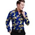 Brilhantemente imprimir mens camisa turn down collar dashiki africano roupas para homens homens da moda tops de manga longa personalizado áfrica clothing