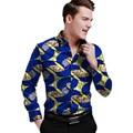 Brillantes imprimir camisa para hombre gira el collar abajo dashiki africano ropa para hombres los hombres de moda de manga larga tops ropa de áfrica