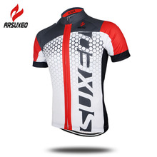 Men's Summer Short Sleeve Cycling Jersey MTB Bike Bicycle Printing Shirt Sportswear Clothing – Color Blue Green Red