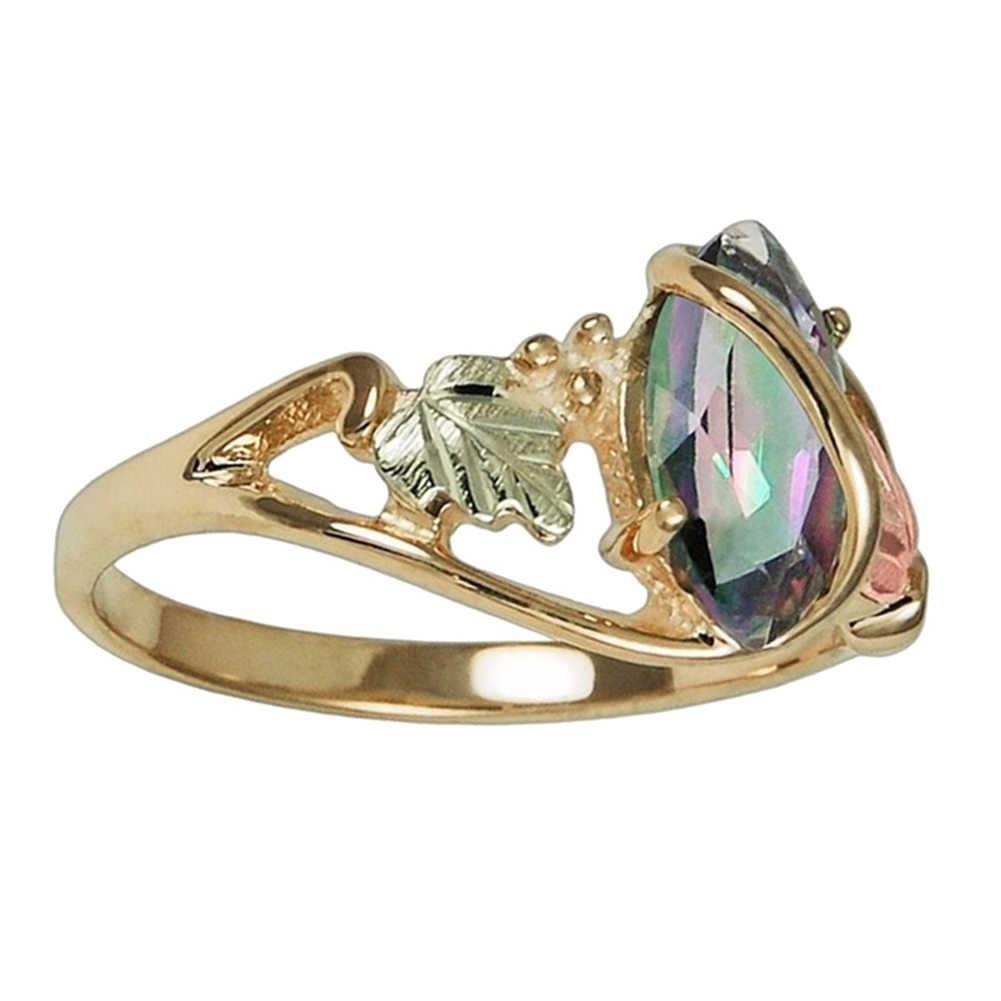 Модные женские туфли огранка маркиз искусственная топаз Красочные листья кольцо на палец для вечеринки подарок ювелирных изделий