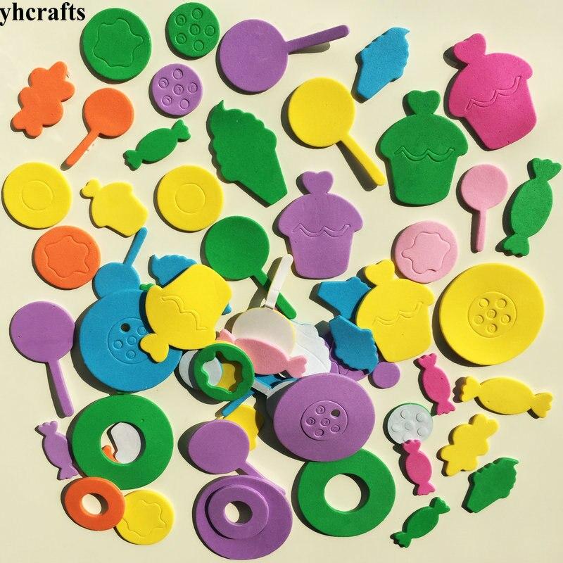 1 пакетов/лот, снежинка, рождественские наклейки из пены для раннего обучения, Обучающие поделки, diy игрушки, детская комната, орнамент, цветная обучающая креативная OEM - Цвет: 60PCS lollipop