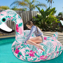 Inflatable Flamingo Giant Pool Float 60 Inch 1.5m Swan Summer Swimming Ring Floral Print Flamingo Pool Floating Toys for Adults(China)