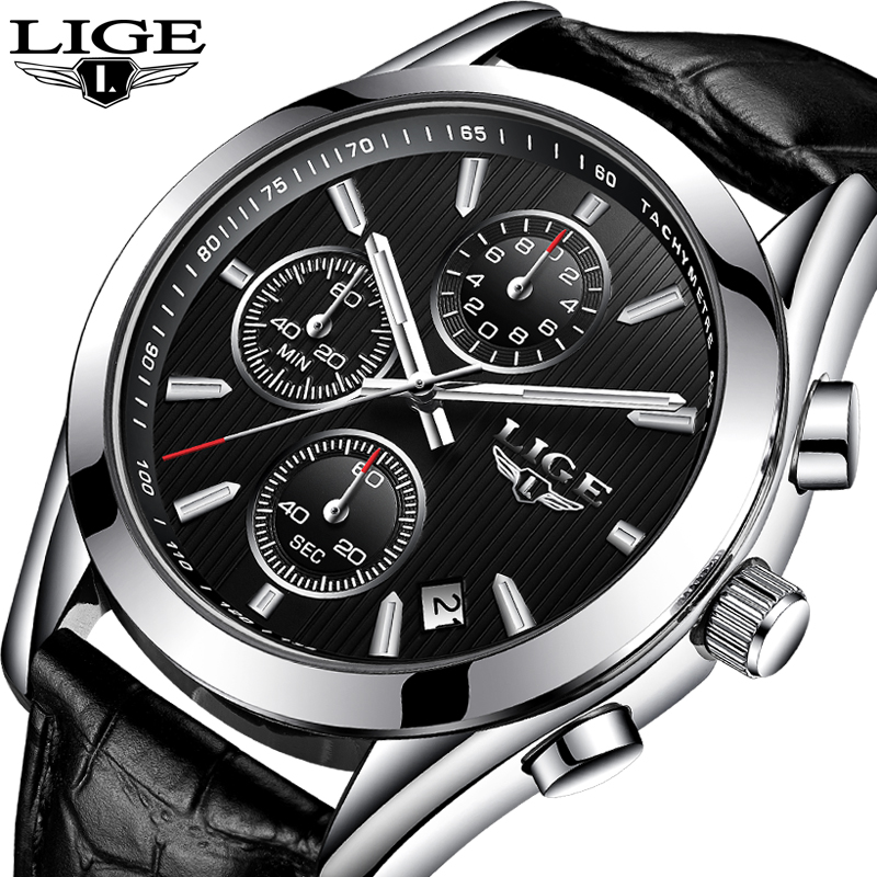 Masculino LIGE Mens Watches Top Brand Luxury Chronograph Sport Quartz Watch Men Fashion Business Leather Wrist watch Man Clock 2017 new top fashion time limited relogio masculino mans watches sale sport watch blacl waterproof case quartz man wristwatches