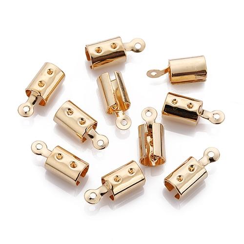 LINSOIR 100 шт./лот металлические наконечники конец застежки подходит 4/6 мм кожаного ремешка на браслет, соединительное устройство золото Цвет разъемы для самостоятельного изготовления ювелирных изделий F778 - Цвет: KC golden
