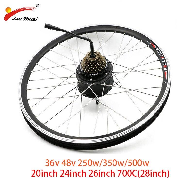 "36V 48V 250W 350W 500W Electric Bike Rear Motor Wheel Electric Bicycle Brushless Hub Motor 26"" 700C 28inch Wheel Free Shipping"