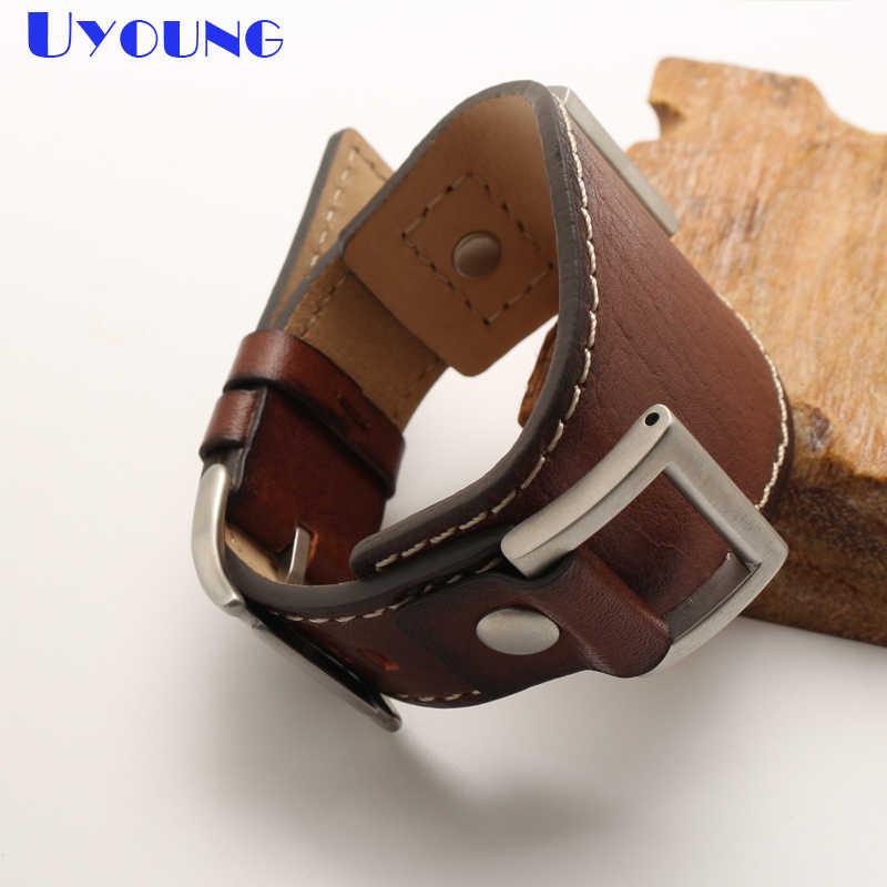 24 مللي متر حزام (استيك) ساعة جلد طبيعي حزام ساعة اليد مان مربط الساعة حصيرة اليدوية مزدوجة رئيس طبقة جلد البقر الفرقة عالية الجودة مربط الساعة