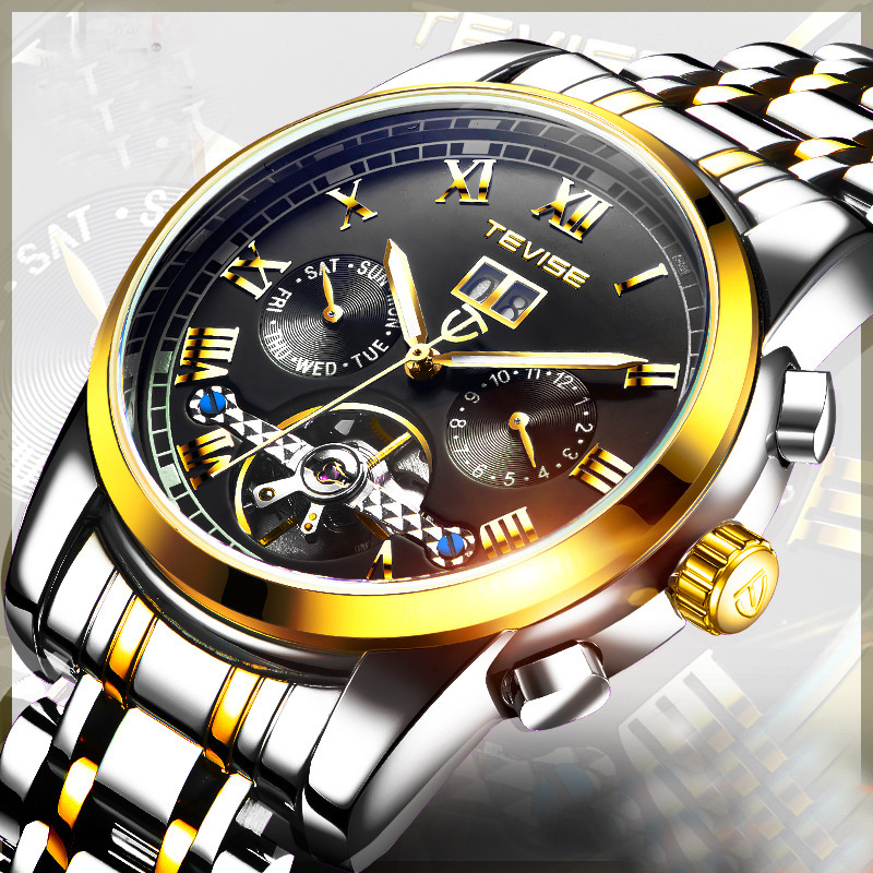 Tevise 2018 Business Tourbillon Watch Men Mechanical Automatic Self Winding Mens Watch Multifunction Wristwatch Relogio Mecanico forsining fashion business dress mechanical wrist watch men tourbillon rubber band self winding day date multifunction relogio