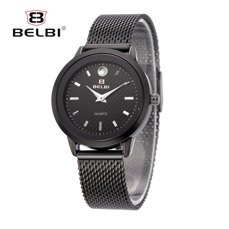 BELBI Top Luxury Brand Mens Watches Ultra Thin Stainless Steel Mesh Band Quartz Wristwatches Digital Simple Dial for Male Gift