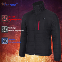 Men Winter Heated Vest Thick USB Heating Jacket Outdoor  Windbreaker Hiking Tactical Camping Climbing Coats