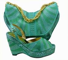 Wunderbare design African schuhe und passende taschen mit strass! großhandel Italienischen frauen schuhe und taschen für party! HQJ1-30