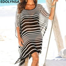 Summer Beach Dress Tunic Women Plus Size Batwing Sleeve Grey Gradient  Striped Sexy Transparent Loose Short Dress Sundress N593 2371021f546e
