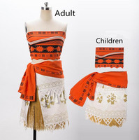 Movie Moana Princess Dress Adult Women Kids Children Cosplay Costume Top Skirts Christmas Party