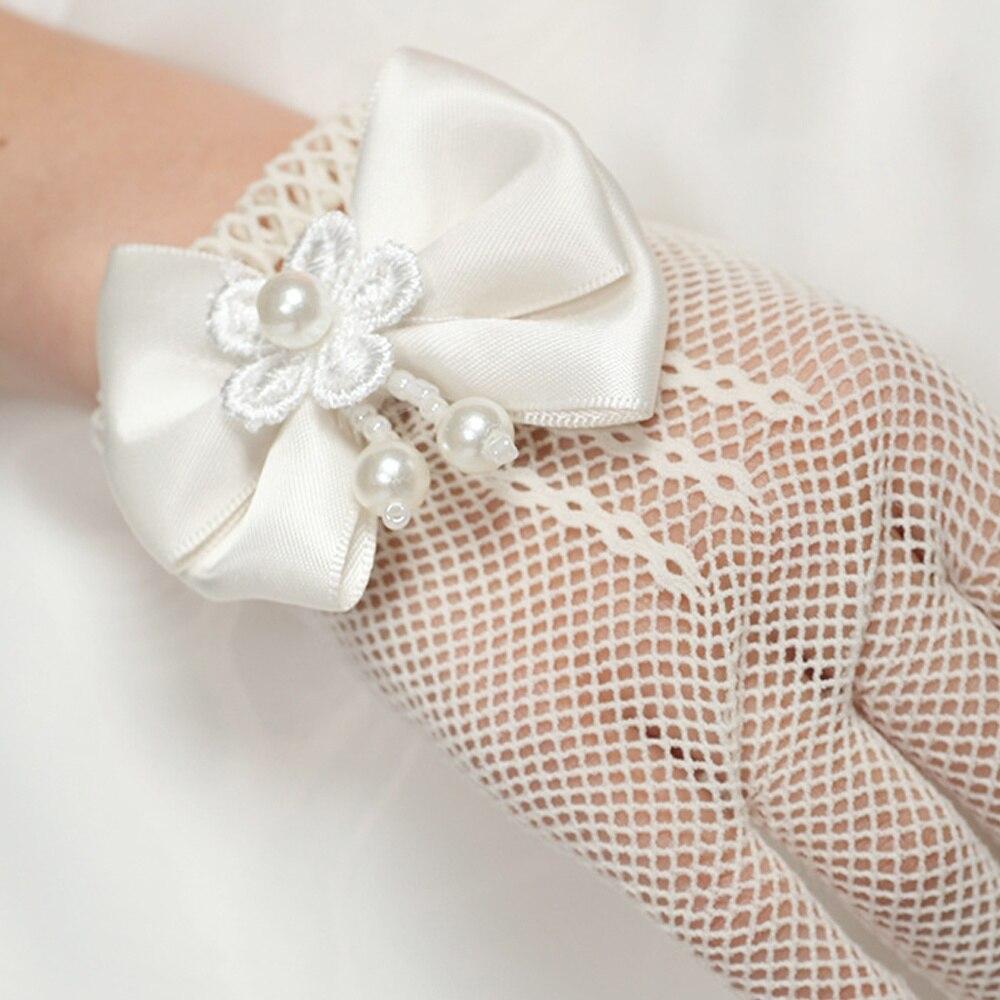 Детские кремовые кружевные перламутровые ажурные перчатки для причастия с цветочным узором Вечерние перчатки для девочек детские перчатки высокая эластичная сетка перчатки для стрельбы из лука