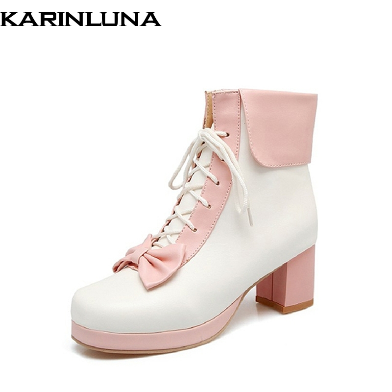 KarinLuna 2018 Spring Autumn Sweet Mixed Color Lace-Up Ankle Boots With Bow Cute Med Square Heel Woman Shoes Plus Size 30-44 sarairis 2018 spring autumn punk mixed color ankle boots lace up rivet colorful shoes woman short plush large size 33 43 lady