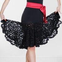 Professional Latin Dance Skirt Women Black Competition Practice Ballroom Tango Skirt Tassel Fringe Latin Salsa Dance Skirt
