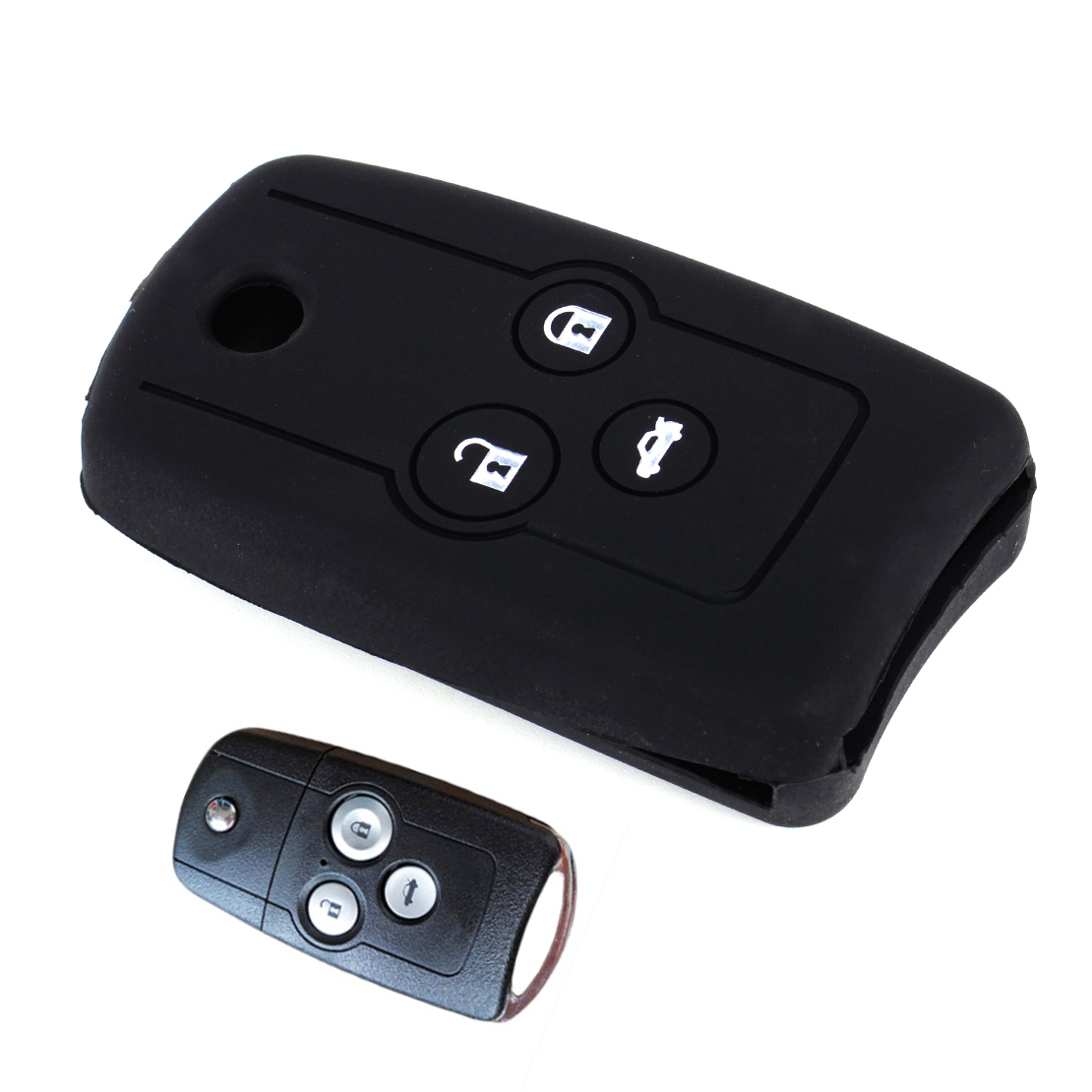 CITALL Black 3 Buttons Silicone Flip Folding Key Cover Case Fob Fit For <font><b>Acura</b></font> TL <font><b>TSX</b></font> ZDX 2010 - 2013 MDX RSX 2002 - <font><b>2006</b></font> image