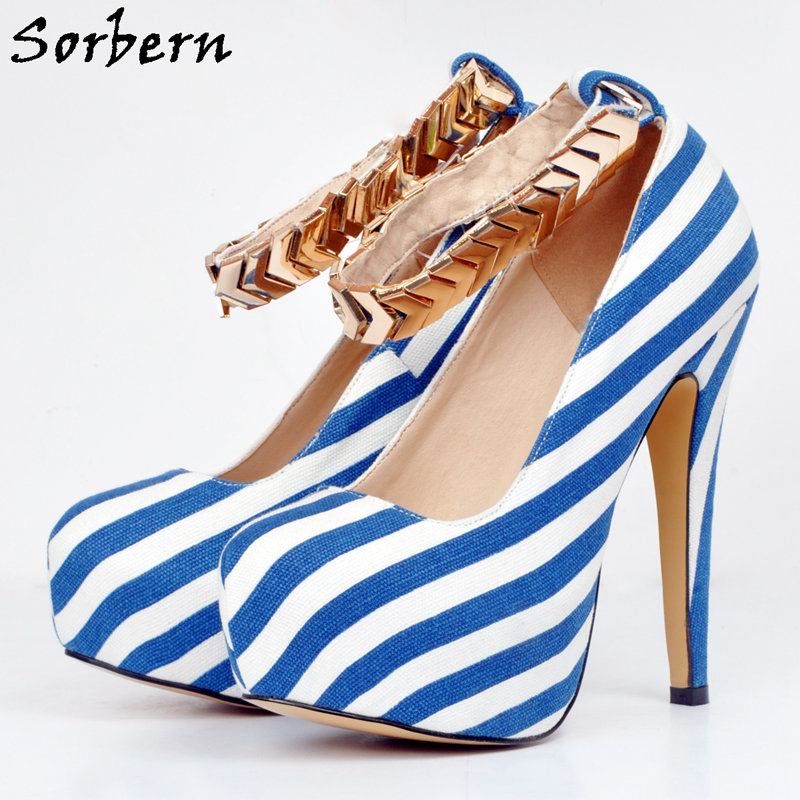 Здесь продается  Sorbern Womens Designer Shoes Platform Ladies Shoes Blue And White With Heels Ankle Straps Buckles Womans Shoes Fashions 2018  Обувь