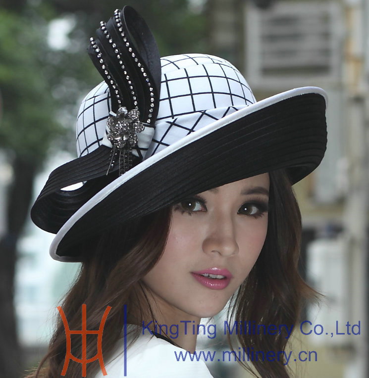 New Fashion Lady s Black White Check Satin Bow Up Birm 100 Polyester Kentucky Derby Wedding