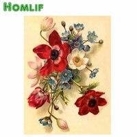 HOMLF Mosaic Pattern Stitch Cross Hanging Flowers DIY Diamond Painting Cross Stitch Diamond Painting Craft Plastic